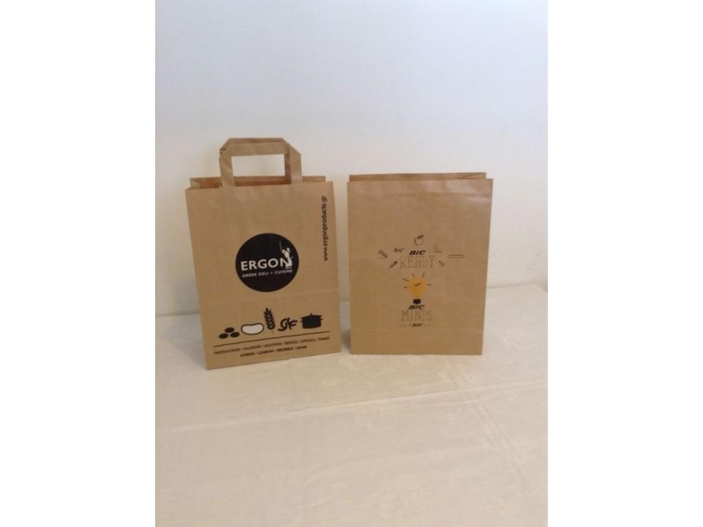 χάρτινες τσάντες οικολογικές για καταστήματα εστιατόρια τσάντες  delivery για εστιατόρια καφέ ζαχαροπλαστεία πιτσαριες